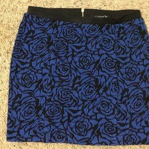 Black and blue floral skirt